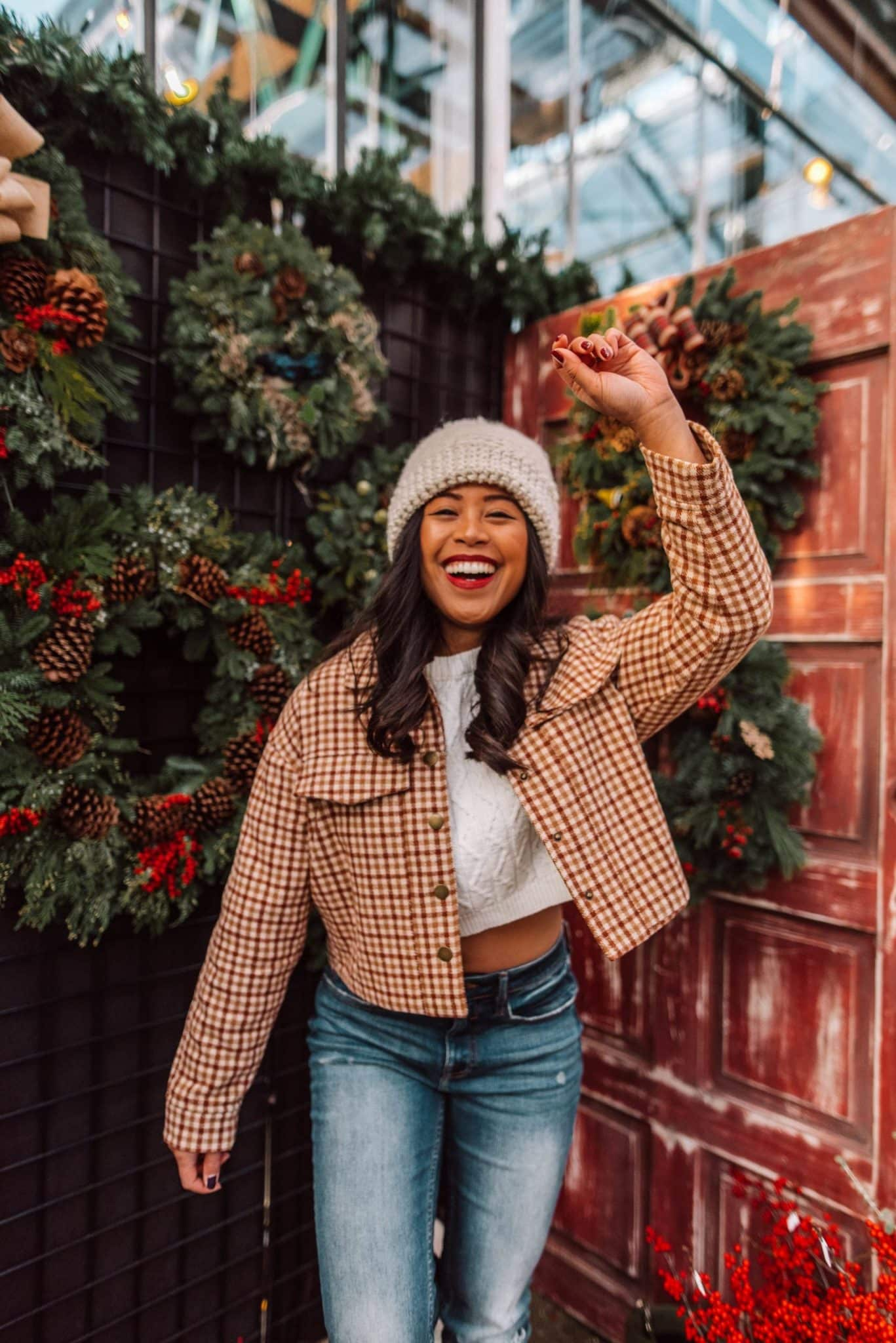 Női télikabátok - Téli kabátok - téli ruházati ötletek nőknek - téli stílus - téli ruházati ötletek - téli ruhák - A kockás szövetkabát bőr betéttel