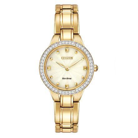 Ez az elegáns Citizen Silhouette Crystal arany karóra sárga aranyból készült, a legnépszerűbb anyag a női óra.
