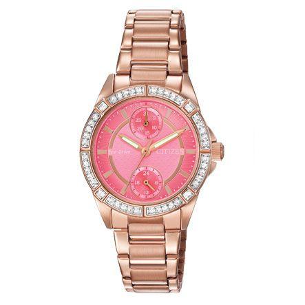 Színes és női óra. Ez a Citizen POV divatóra modell élénk színű rózsaszín tárcsával, rózsa arany díszítéssel.