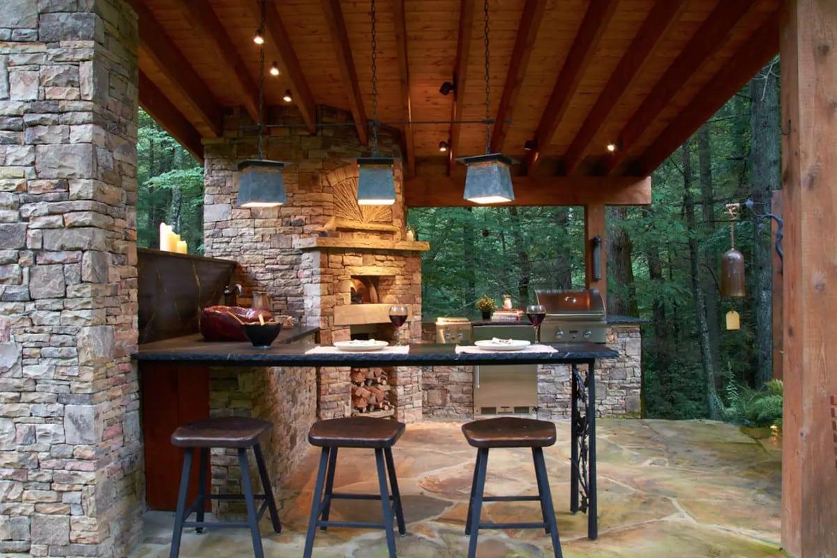 Rusztikus szoba szabadtéri konyha