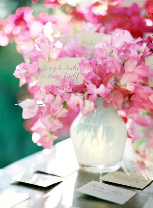 Világos rózsaszín édes esküvő asztaldísz