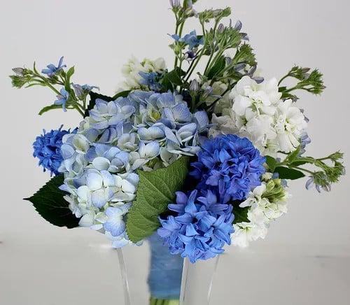 Kék esküvői virágok kiválasztása a menyasszonyi csokrok számára