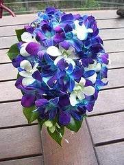Kék orchidea menyasszonyi csokrok